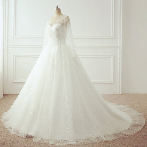 Image of Bling Bling Long Sleeves Wedding Dresses Ball Gowns With Pearl And Sequins Beaded