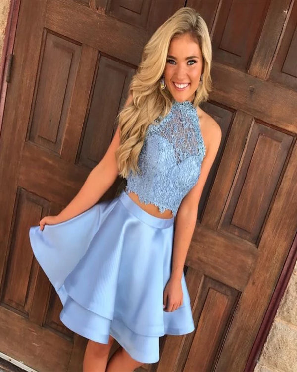 Steel Blue Homecoming Dresses Two Piece