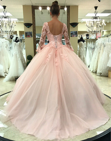 Image of long-sleeves-quinceanera-dress