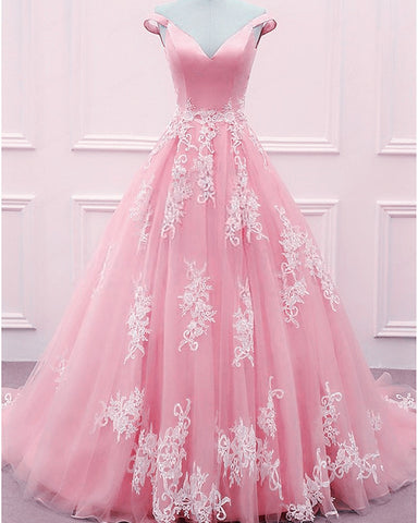 Image of Blush Pink Ball Gowns Prom Dresses 2020