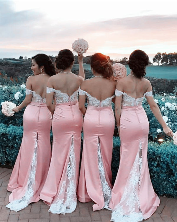 White Lace Appliques Off The Shoulder Mermaid Court Train Bridesmaid Dresses