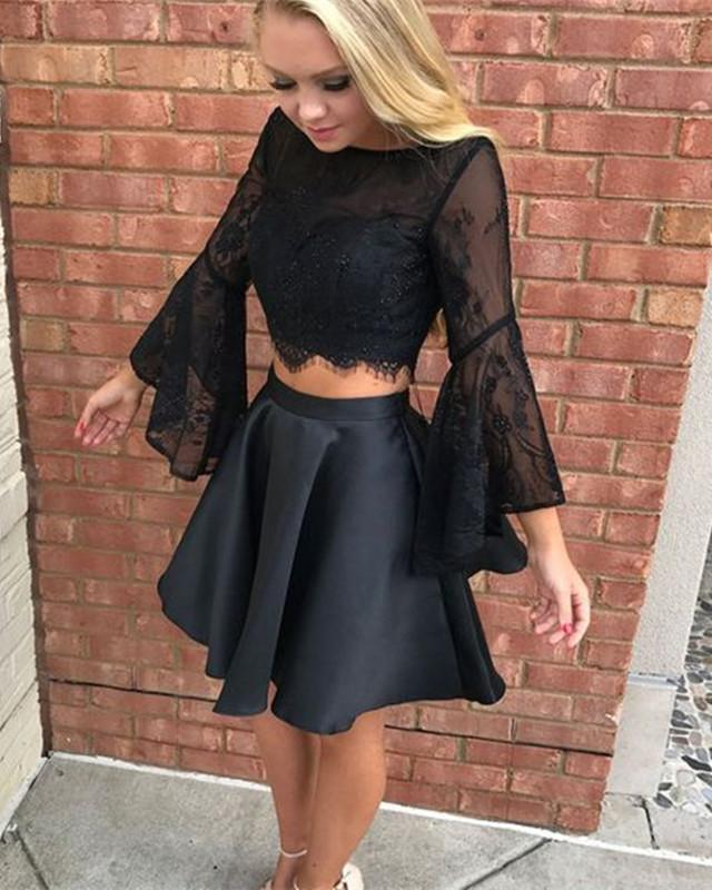 Long-Sleeves-Homecoming-Dresses-Black-Prom-Dress-Two-Piece