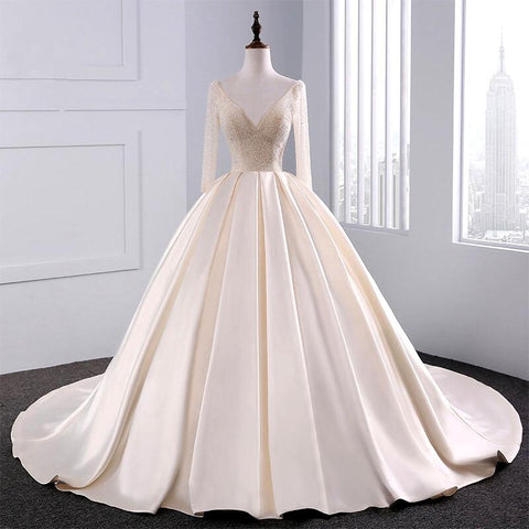 f81184a86c24 Image of Sequins Beaded V Neck Champagne Wedding Dresses Ball Gowns With  Sleeves .