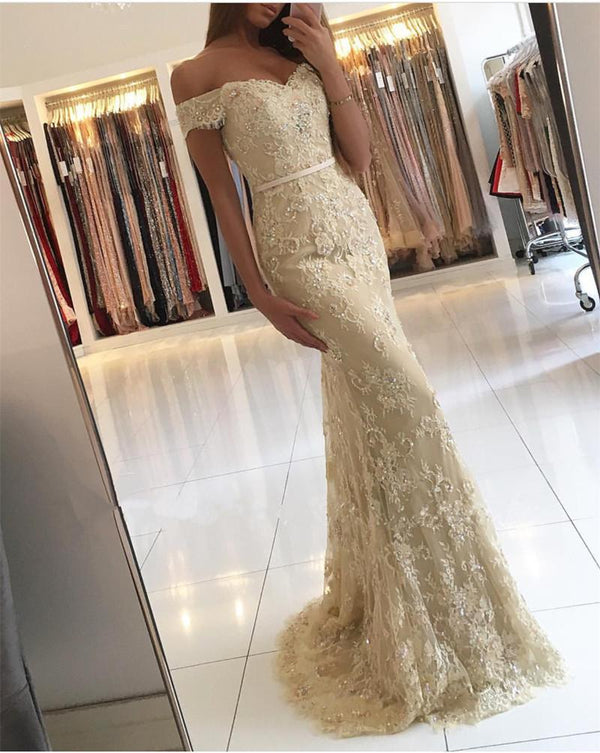 Elegant Lace Mermaid Prom Dresses Off Shoulder