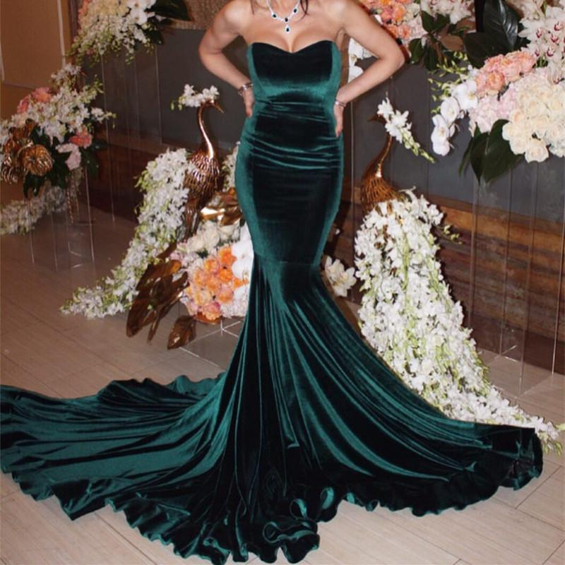 Sexy Strapless Bodice Corset Velvet Evening Gowns Long Mermaid Prom Dresses 2018