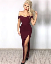 Load image into Gallery viewer, Burgundy-Prom-Dresses-Mermaid-Evening-Gowns-Long