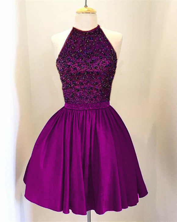 Grape A-line Beaded Halter Satin Homecoming Dresses Short Keyhole Back Prom Dresses