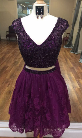 Image of Two Piece Homecoming Dresses Beaded Cap Sleeves