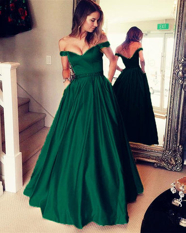 Image of Emerald-Green-Evening-Dresses-Off-The-Shoulder-Prom-Gowns-2019