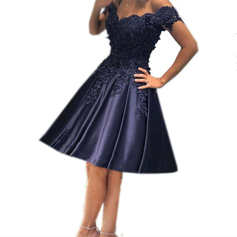 Image of Navy Blue Bridesmaid Dresses Short Formal Dresses Lace Off Shoulder