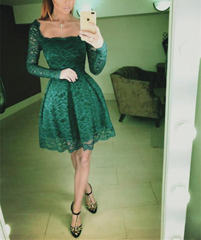Image of Emerald Green Lace Homecoming Dresses Long Sleeves Prom Short Dresses