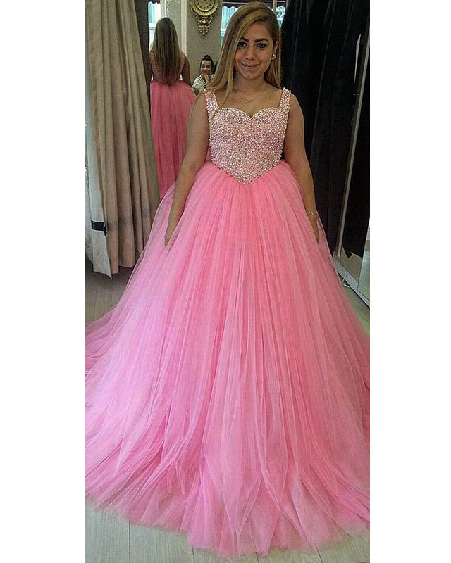34754de406af Pretty Pearl Beaded Sweetheart Tulle Ball Gowns Quinceanera Dresses ...