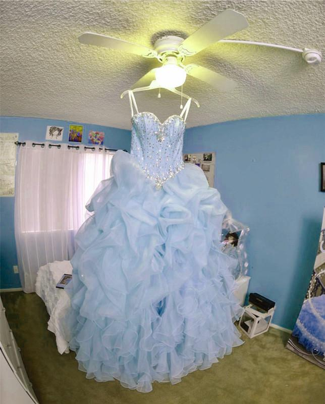 Beaded Sweetheart Light Blue Quinceanera Dresses Ball Gowns Organza Layered