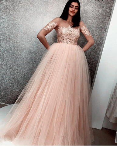 Image of Illusion Neckline Tulle Ball Gown Prom Dresses Lace Appliques Evening Gowns