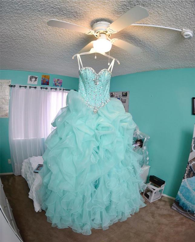 f9f67d35982 Beaded Sweetheart Light Blue Quinceanera Dresses Ball Gowns Organza  Layered. Double tap to zoom