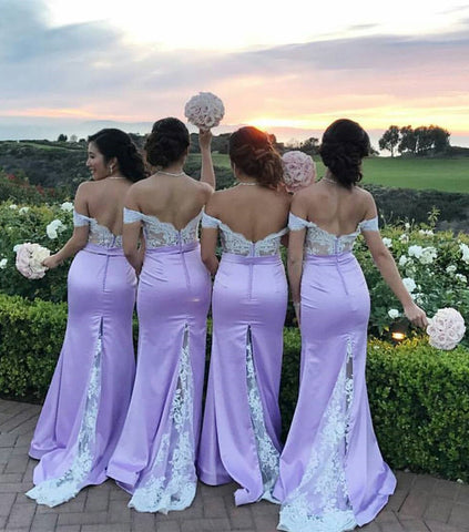 Image of White Lace Appliques Off The Shoulder Mermaid Court Train Bridesmaid Dresses