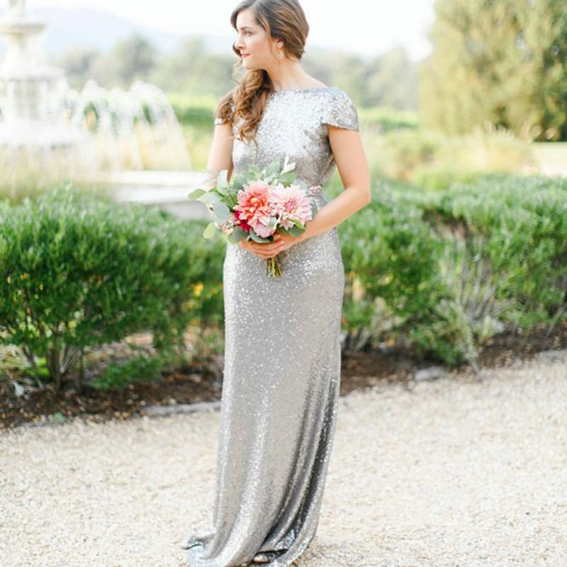 Silver-Sequin-Prom-Dresses-Mermaid-Cap-Sleeves-Evening-Formal-Gowns