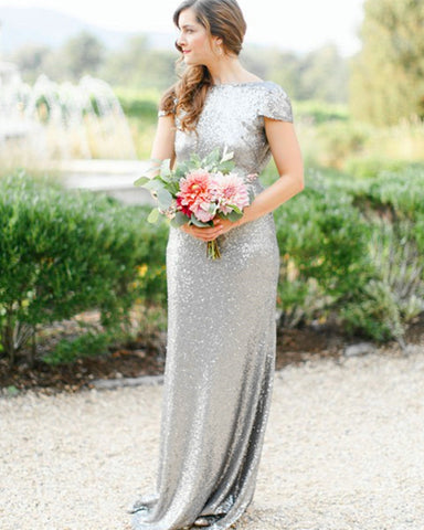 Image of Silver-Bridesmaid-Dresses