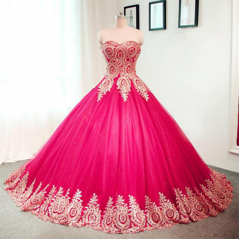 Image of Gold Lace Sweetheart Tulle Ball Gowns Quinceanera Dresses