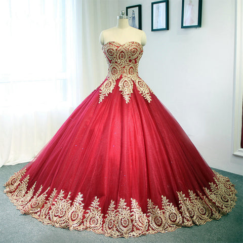 Image of Gold-Lace-Quinceanera-Dresses