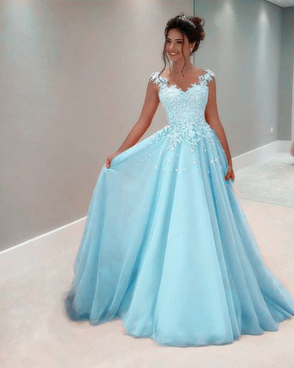 Tulle Floor Length Prom Dresses Lace Appliques