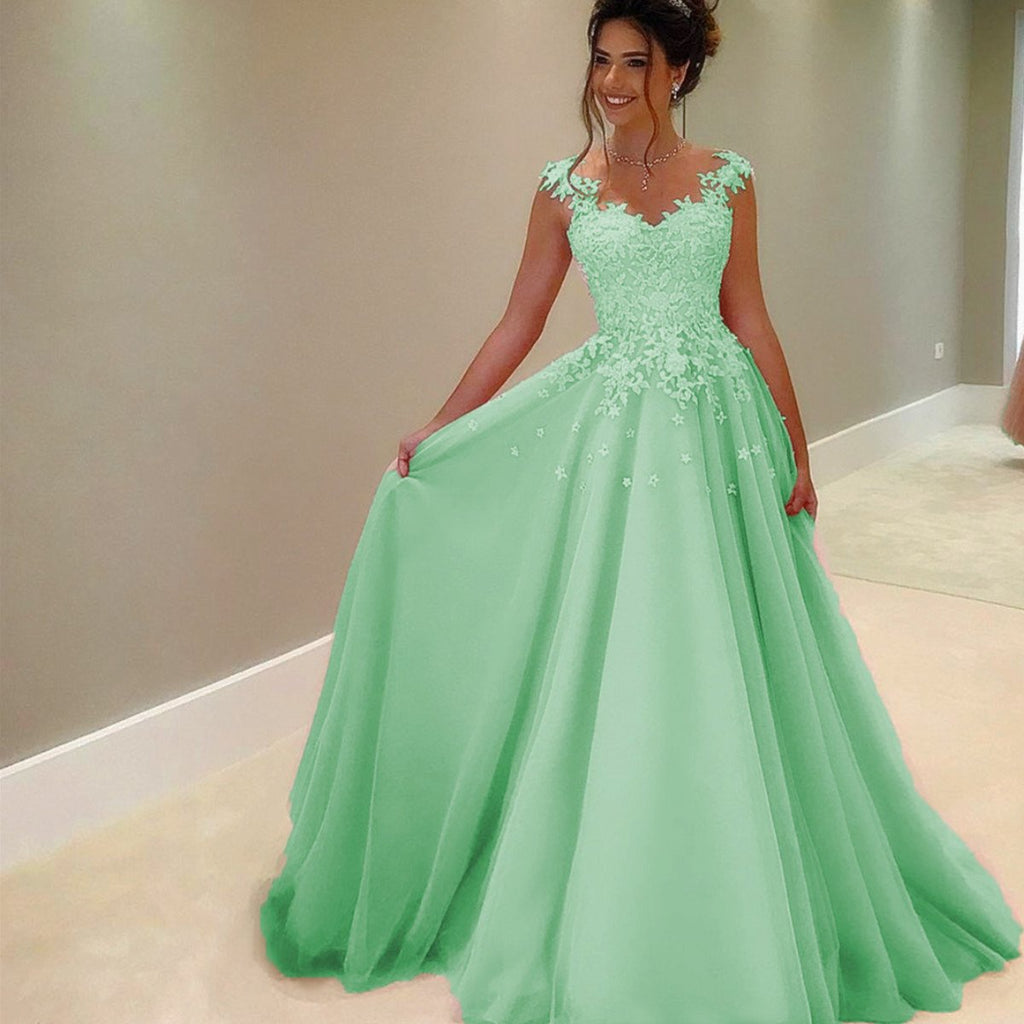 66bac1cd99 A Line Lace Appliques Long Chiffon Prom Dresses With Nude Tulle Neckline. Double  tap to zoom