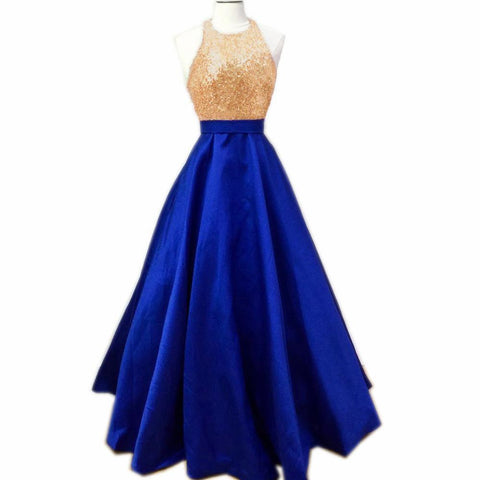 Image of Glitter Sequins Halter Top Long Satin Ball Gowns Prom Dress