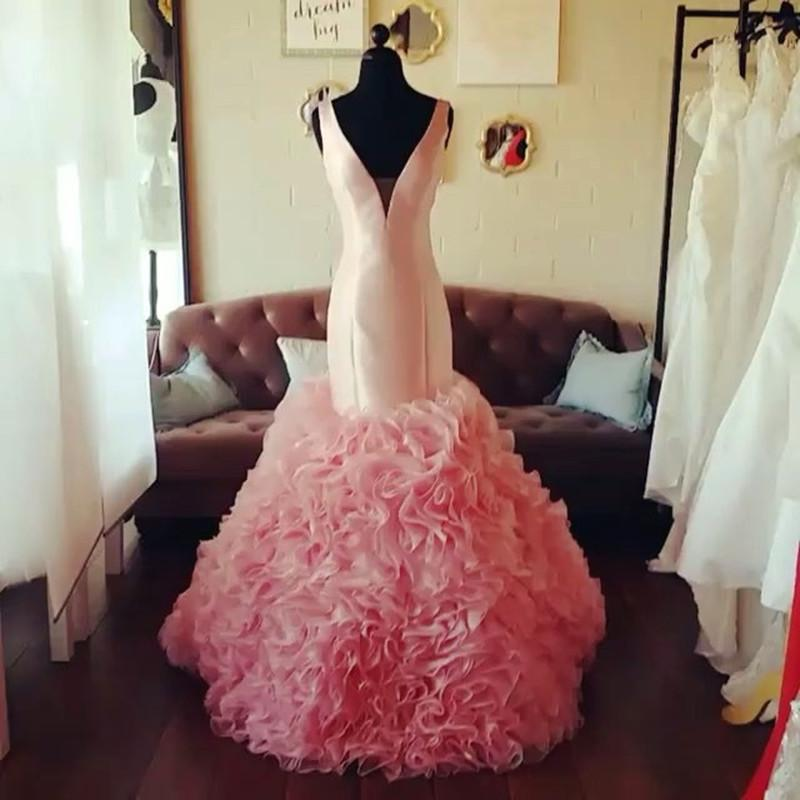Blush Pink Mermaid Prom Dresses V Neck Organza Ruffles 2017 New Arrival
