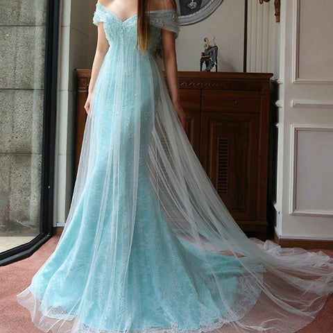 Image of elegant tulle mermaid off shoulder prom dresses lace appliques