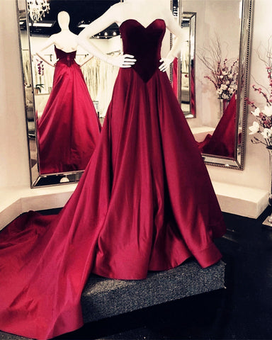 Image of Velvet Sweetheart Bodice Corset Satin Ball Gowns Prom Dresses 2020