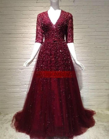 Image of modest half sleeves long burgundy evening dresses with lace and crystal beaded
