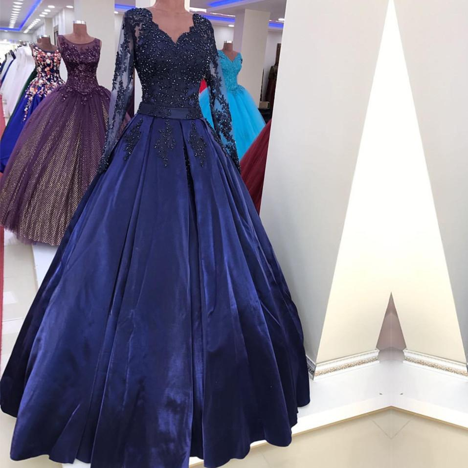 Navy Blue Satin Ball Gown Prom Dresses Lace Long Sleeves