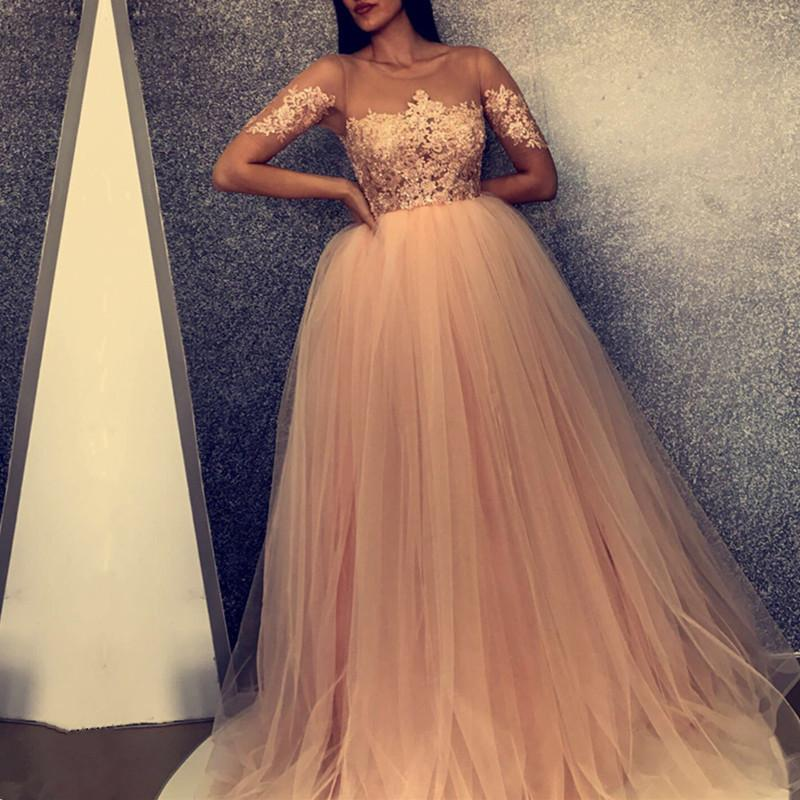 d1b6558311 Illusion Neckline Tulle Ball Gown Prom Dresses Lace Appliques Evening Gowns.  Double tap to zoom