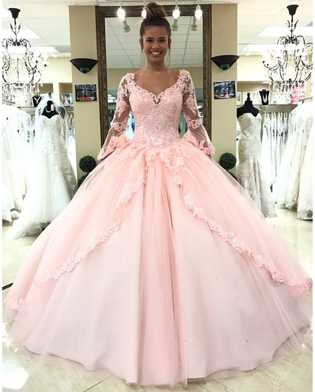 8f48b2d042e Elegant Long Sleeves Tulle Ball Gown Quinceanera Dresses Lace ...