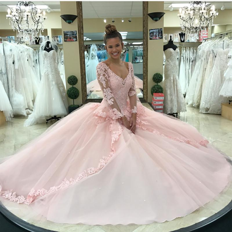 Pink Lace Appliques Ball Gowns Quinceanera Dresses Long Sleeves