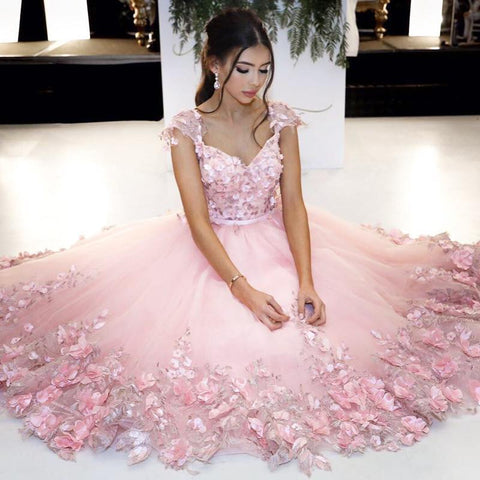 Image of Elegant Handmade Flower Beaded Tulle Coral Pink Homecoming Dresses