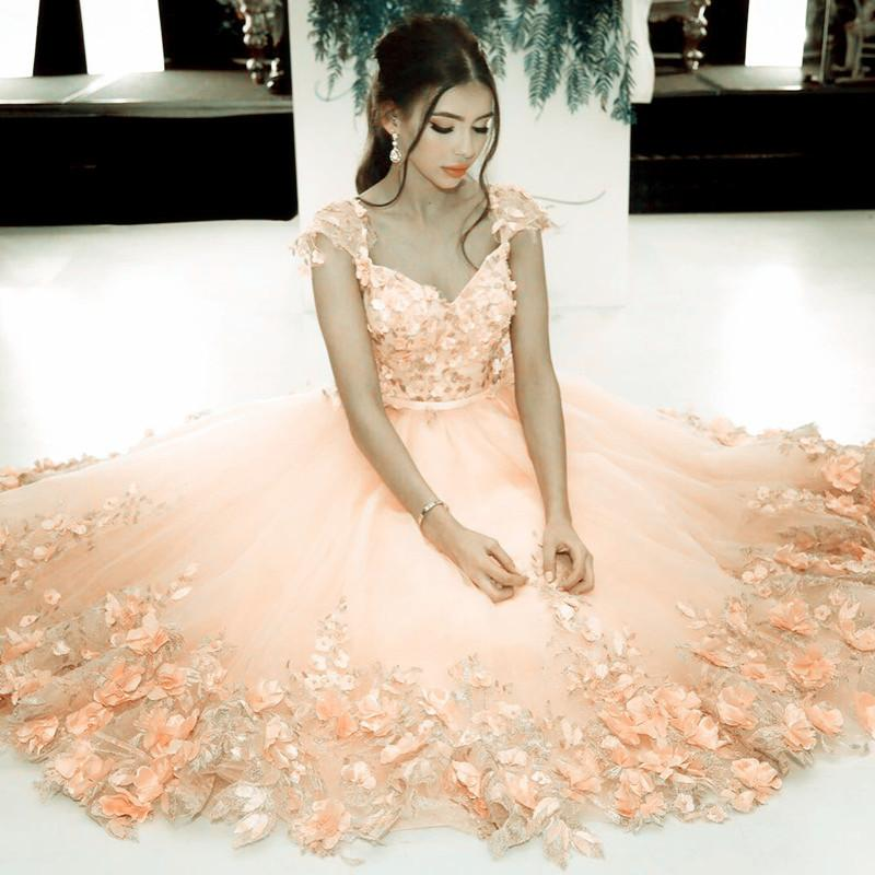 Elegant Handmade Flower Beaded Tulle Coral Pink Homecoming Dresses
