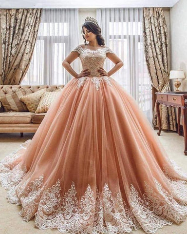 Image of Coral-Pink-Ball-Gowns-Quinceanera-Dresses