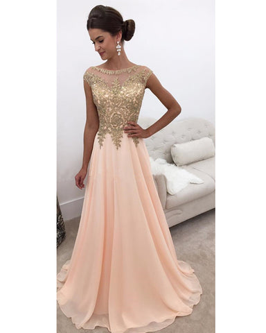 Image of Gold-Lace-Prom-Dresses