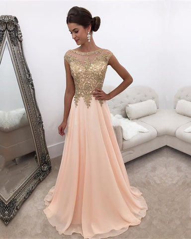 Image of Peach-Prom-Dresses