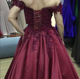 Burgundy Satin Ball Gown Wedding Dresses Lace V-neck Off The Shoulder