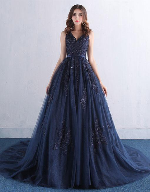 navy-blue-evening-dresses-tulle-prom-long-dresses-elegant