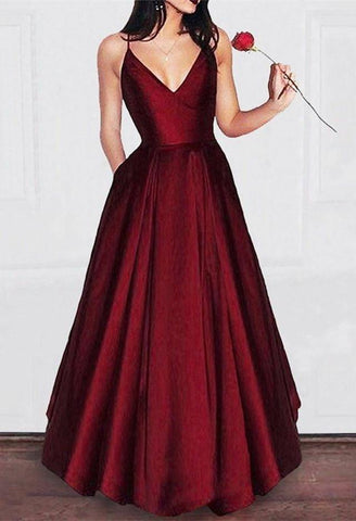 Image of Spaghetti Straps V-neck Floor Length Long Prom Dress Satin Evening Gowns