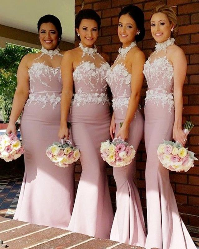 Stunning Flowers Beaded Lace Embroidery Mermaid Halter Bridesmaid Dress