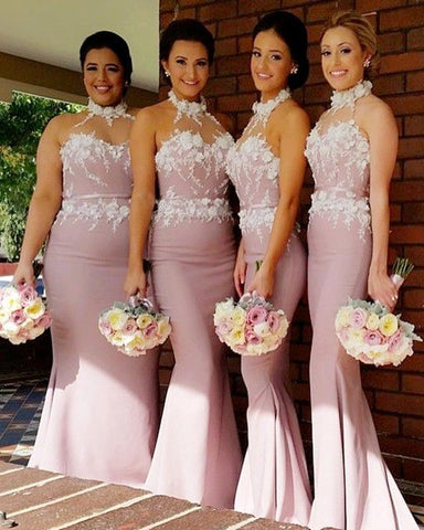 Image of Stunning Flowers Beaded Lace Embroidery Mermaid Halter Bridesmaid Dress