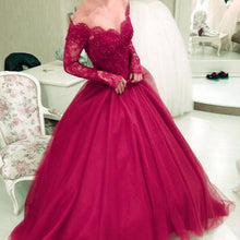 Load image into Gallery viewer, Charming Tulle Prom Dresses Ball Gowns Long Sleeves With Nude Tulle Neck