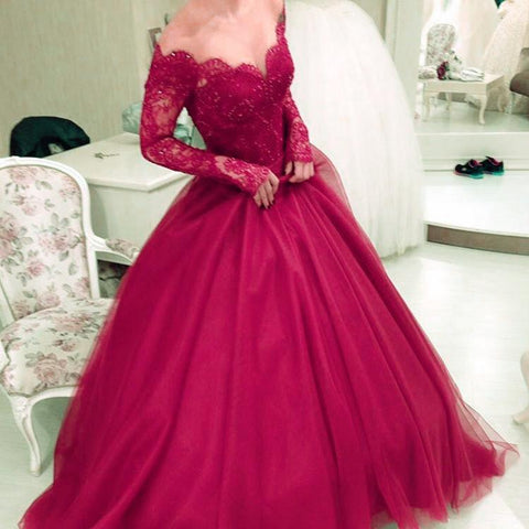 Image of Charming Tulle Prom Dresses Ball Gowns Long Sleeves With Nude Tulle Neck