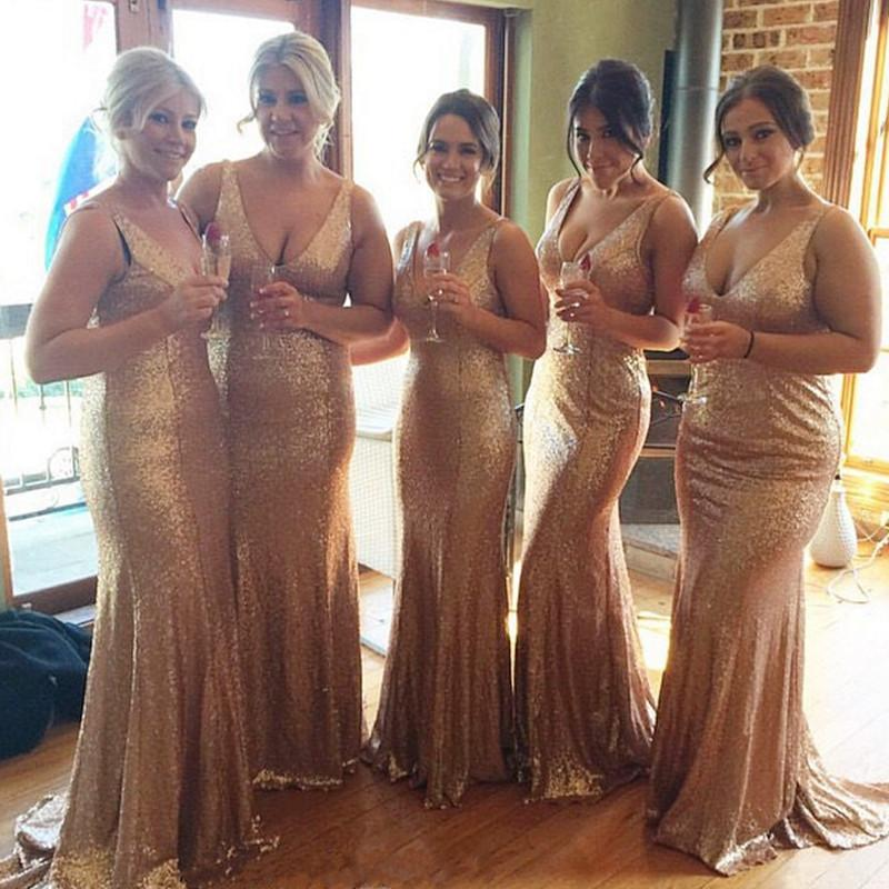 Long Rose Gold V-neck Empire Waist Mermaid Sequined Bridesmaid Dresses