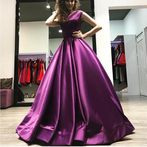 Image of Elegant Long Satin Open Back Ball Gowns Prom Dresses 2019