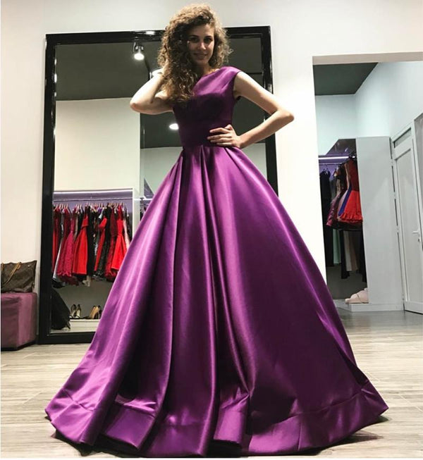 Elegant Long Satin Open Back Ball Gowns Prom Dresses 2019